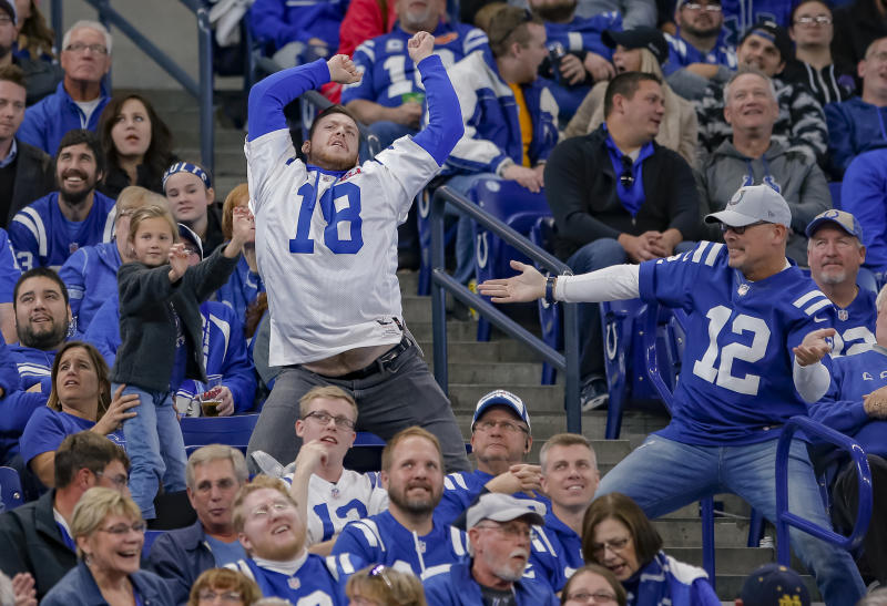 INDIANAPOLIS, IN - OCTOBER 21: Indianapolis Colts fans dance during the game against the Buffalo Bills at Lucas Oil Stadium on October 21, 2018 in Indianapolis, Indiana. (Photo by Michael Hickey/Getty Images)