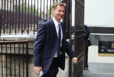 Britain's Foreign Secretary Jeremy Hunt arrives at the Houses of Parliament in London