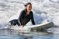 <p>Michelle Rodriguez enjoys a day at the beach in Malibu on Friday.</p>