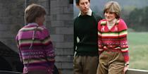 """<p>The colorful fair isle sweater Princess Diana wore over a white turtleneck was known as the """"Balmoral sweater,"""" after she was photographed on the grounds of the Scottish estate with her then-fiancé, Prince Charles, wearing it. It's no surprise the show recreated the iconic pink sweater for season 4.</p>"""