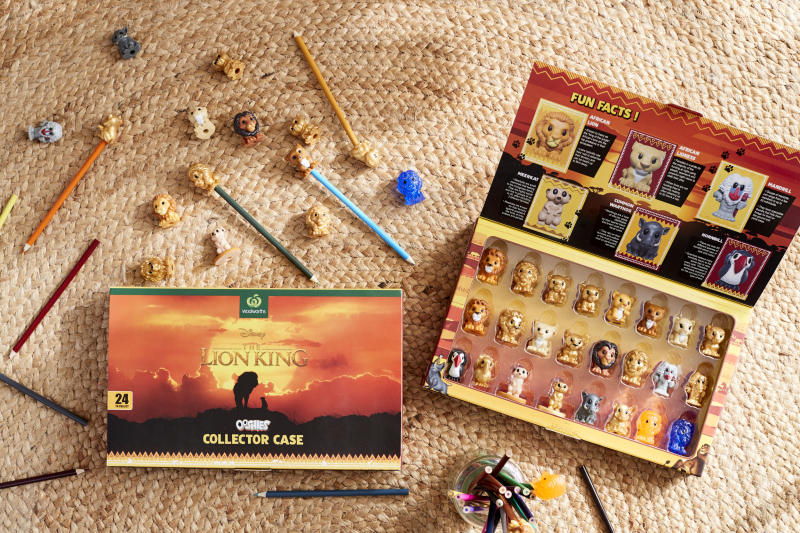 Woolworths reveals The Lion King collector's case. This picture shows the 24 figurines, including Simba, Nala and Mufasa.