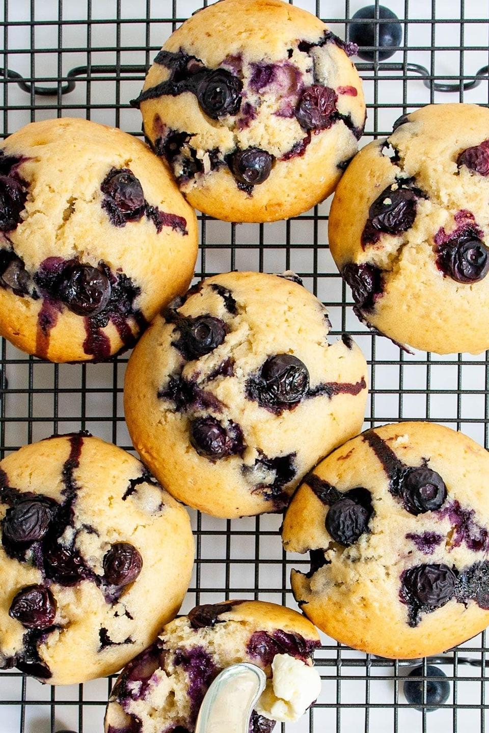 """<a href=""""https://cravinghomecooked.com/bakery-style-blueberry-muffins/"""" rel=""""nofollow noopener"""" target=""""_blank"""" data-ylk=""""slk:Blueberry Muffins"""" class=""""link rapid-noclick-resp""""><h2>Blueberry Muffins</h2></a> <br>We're all missing our local bakery at the moment but with this recipe you'll at least be able to get your blueberry muffin fix.<br><br><br><br>"""