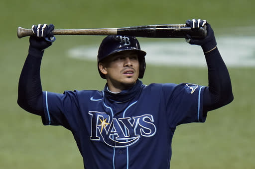 Tampa Bay Rays' Willy Adames reacts after striking out against Miami Marlins starting pitcher Pablo Lopez during the fourth inning of a baseball game Friday, Sept. 4, 2020, in St. Petersburg, Fla. (AP Photo/Chris O'Meara)