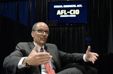 U.S. Secretary of Labor Thomas Perez speaks during an interview after delivering a speech during the AFL-CIO 2013 Convention in Los Angeles, California September 10, 2013. REUTERS/Kevork Djansezian