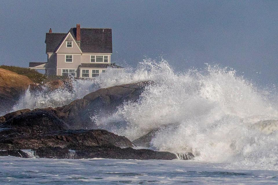 Hurricane Maria whips-up the surf off Warren Point Beach in Little Compton, RI