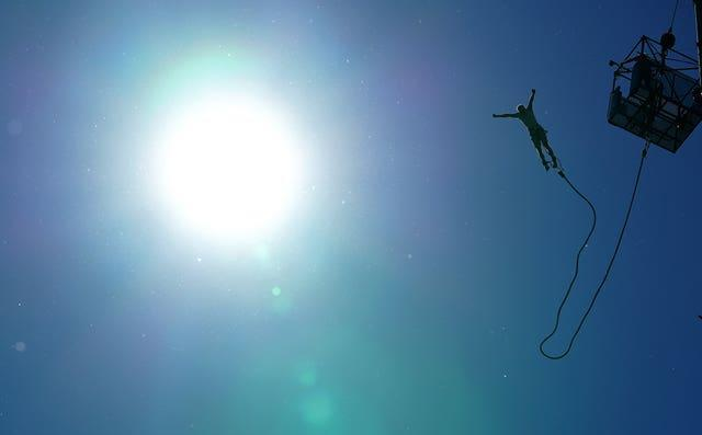 A person bungee jumps in Tatton Park