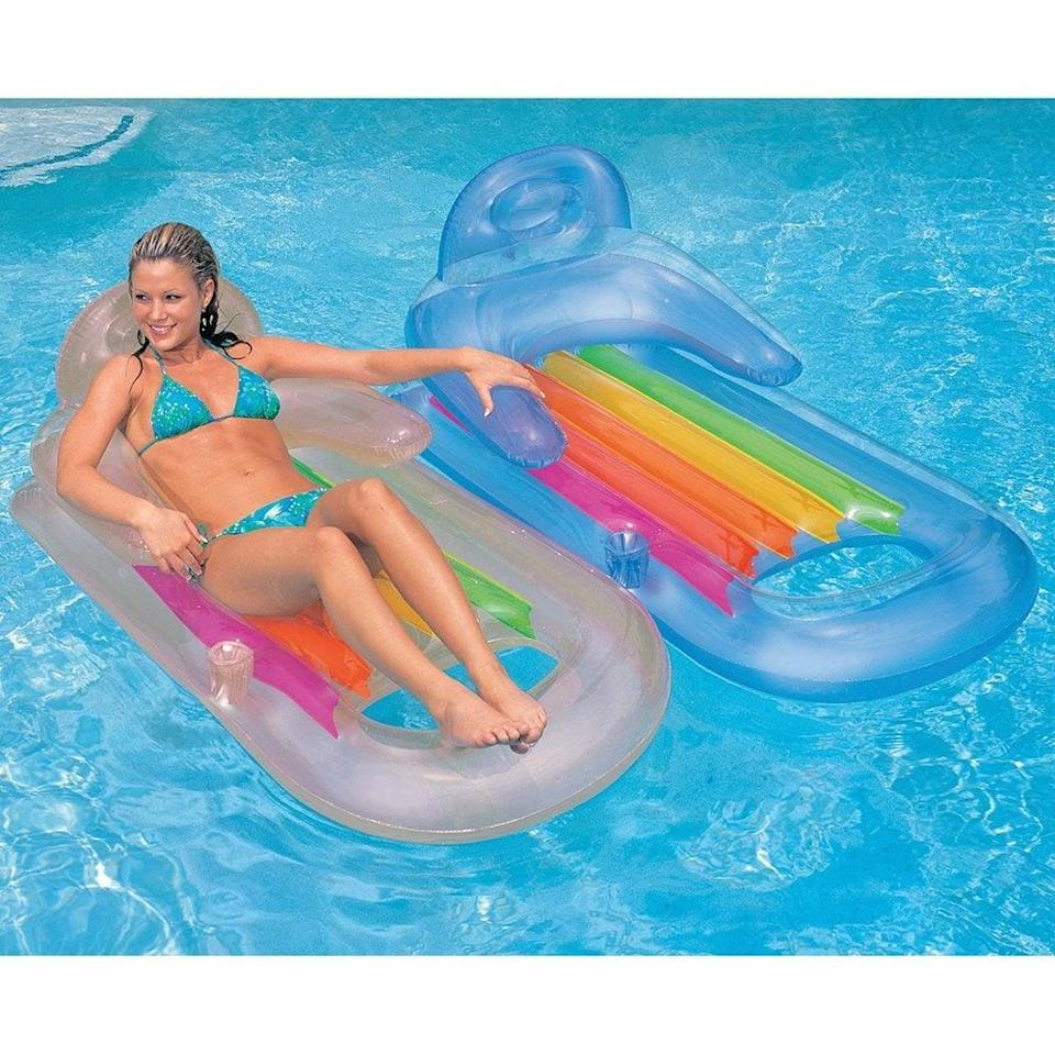 <p>You can't go wrong with this simple yet colorful <span>Intex King Kool Inflatable Lounge</span> ($18).</p>