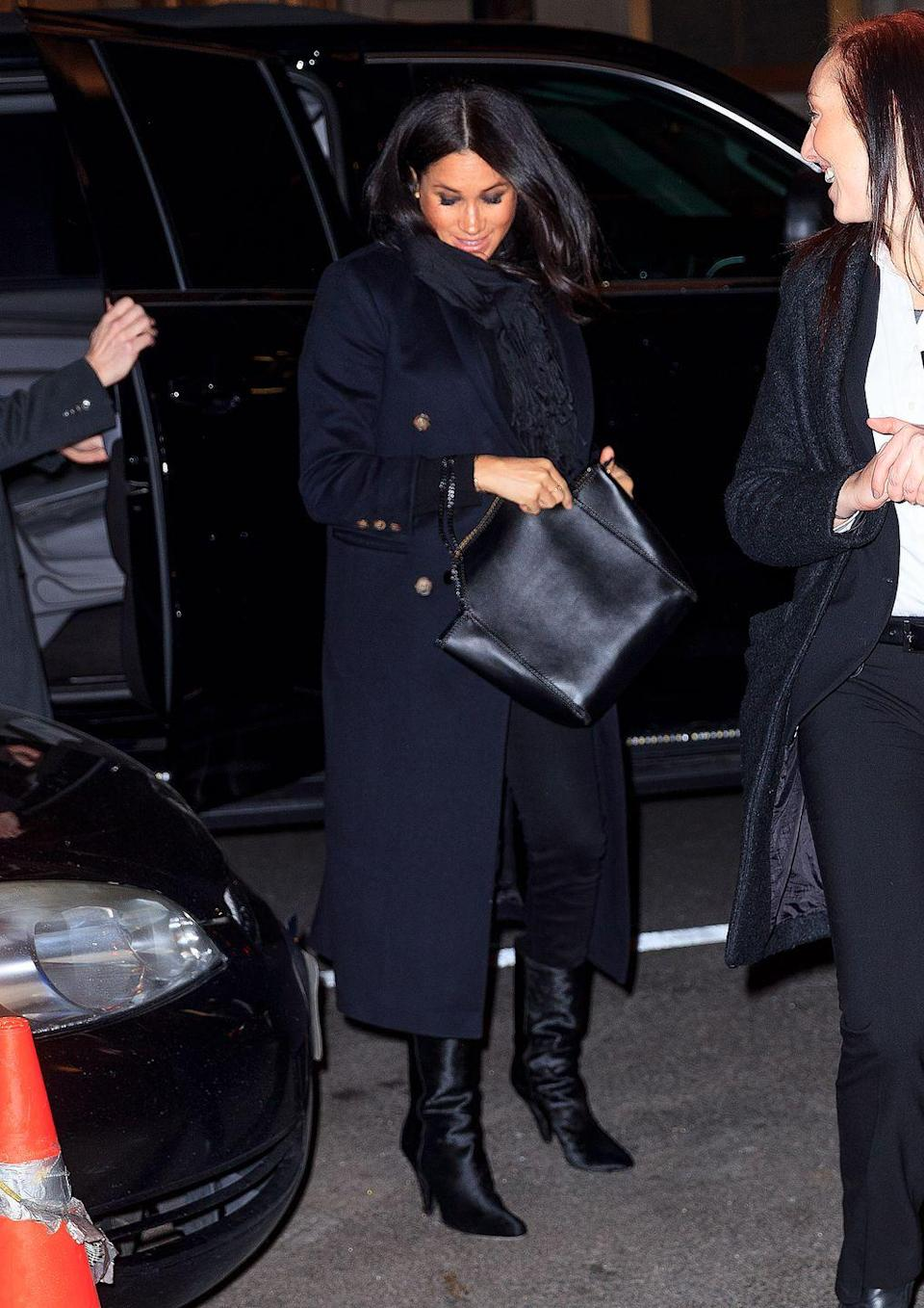 """<p>Meghan re-wore the navy Victoria Beckham coat <a href=""""https://www.townandcountrymag.com/style/fashion-trends/a25632850/meghan-markle-navy-blue-coat-dress-hat-christmas-day-2018-photos/"""" rel=""""nofollow noopener"""" target=""""_blank"""" data-ylk=""""slk:she styled on Christmas Day"""" class=""""link rapid-noclick-resp"""">she styled on Christmas Day</a> for a <a href=""""https://www.townandcountrymag.com/style/fashion-trends/a26425380/meghan-markle-victoria-beckham-coat-polo-bar-new-york-photos/"""" rel=""""nofollow noopener"""" target=""""_blank"""" data-ylk=""""slk:dinner with friends at the Polo Bar."""" class=""""link rapid-noclick-resp"""">dinner with friends at the Polo Bar.</a> The duchess styled the coat with black Hatch jeans, haircalf boots by <a href=""""https://go.redirectingat.com?id=74968X1596630&url=https%3A%2F%2Fwww.tamaramellon.com%2Fproducts%2Fkindred-low-105-haircalf&sref=https%3A%2F%2Fwww.townandcountrymag.com%2Fstyle%2Ffashion-trends%2Fg3272%2Fmeghan-markle-preppy-style%2F"""" rel=""""nofollow noopener"""" target=""""_blank"""" data-ylk=""""slk:Tamara Mellon"""" class=""""link rapid-noclick-resp"""">Tamara Mellon</a>, and a Stella McCartney bag. </p><p><a class=""""link rapid-noclick-resp"""" href=""""https://go.redirectingat.com?id=74968X1596630&url=https%3A%2F%2Fwww.tamaramellon.com%2Fproducts%2Fkindred-low-105-haircalf&sref=https%3A%2F%2Fwww.townandcountrymag.com%2Fstyle%2Ffashion-trends%2Fg3272%2Fmeghan-markle-preppy-style%2F"""" rel=""""nofollow noopener"""" target=""""_blank"""" data-ylk=""""slk:Shop Now"""">Shop Now</a> <em>Kindred mid-calf boots, Tamara Mellon, $695</em></p>"""