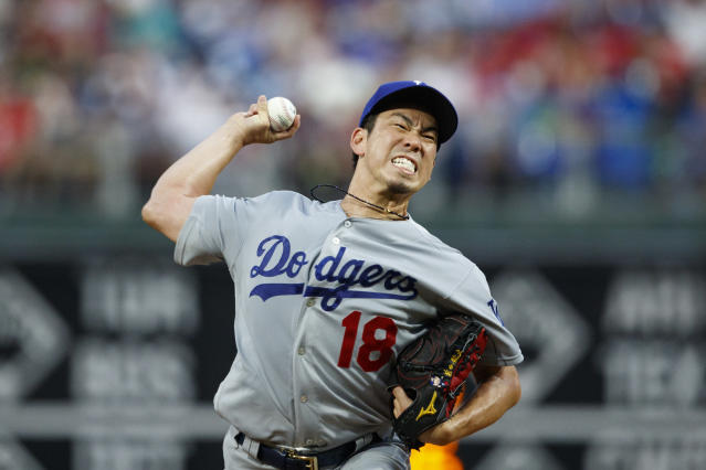 Los Angeles Dodgers' Kenta Maeda pitches during the first inning of a baseball game against the Philadelphia Phillies, Wednesday, July 17, 2019, in Philadelphia. (AP Photo/Matt Slocum)