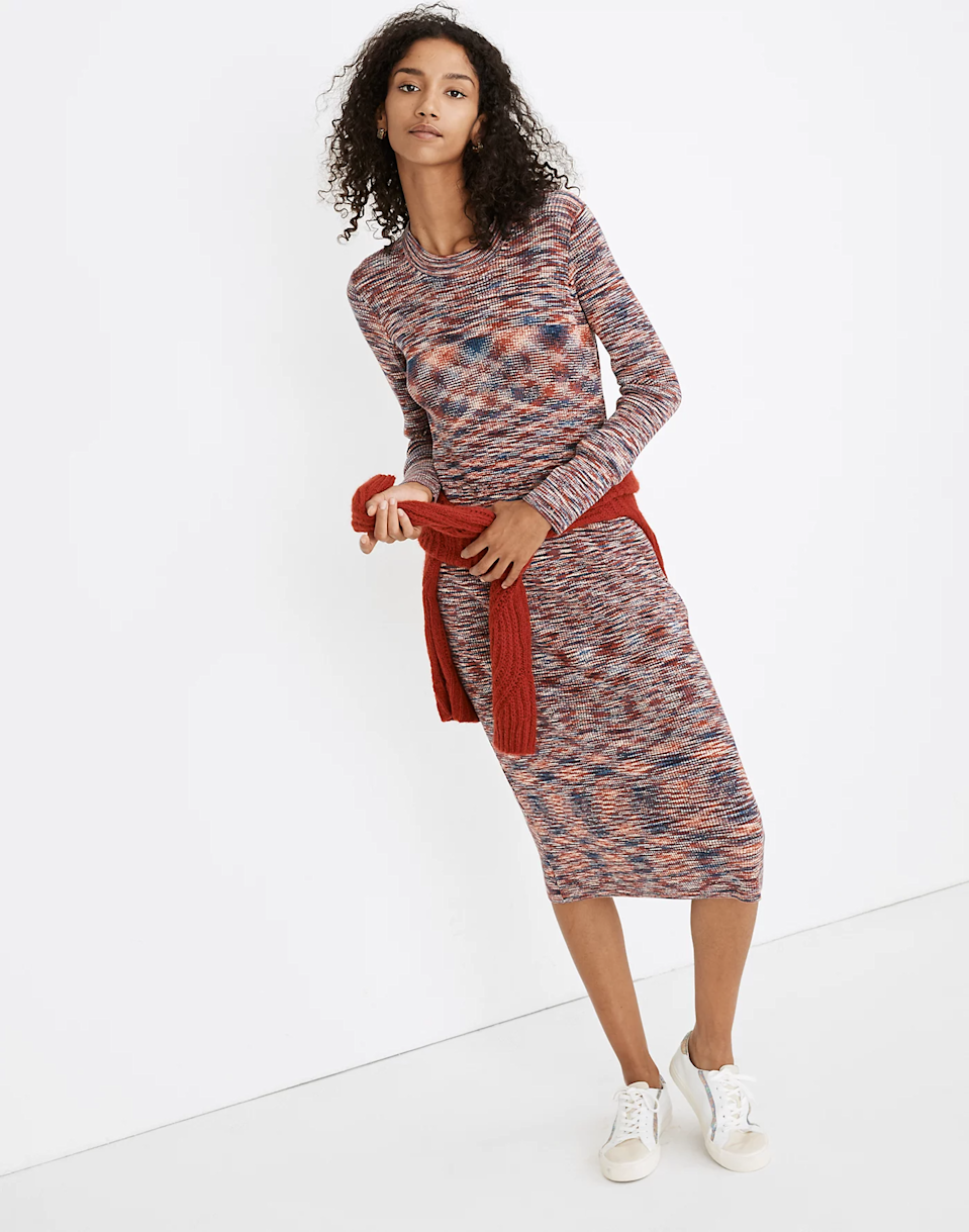 "<br><br><strong>Madewell</strong> Space-Dyed Midi Sweater Dress, $, available at <a href=""https://go.skimresources.com/?id=30283X879131&url=https%3A%2F%2Fwww.madewell.com%2Fspace-dyed-midi-sweater-dress-MB239.html"" rel=""nofollow noopener"" target=""_blank"" data-ylk=""slk:Madewell"" class=""link rapid-noclick-resp"">Madewell</a>"