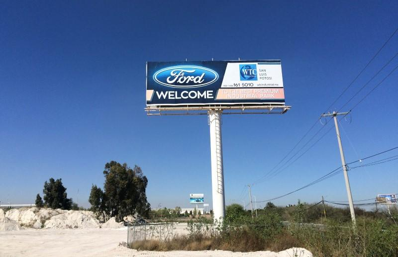 Billboard welcoming Ford Motor Co is seen at an industrial park in San Luis Potosi