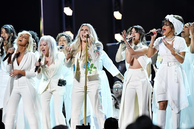 "Kesha performed the song ""Praying"" with Cyndi Lauper, Camila Cabello, and others at the Grammy Awards. (Photo: Getty Images)"