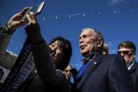 A supporter tries to take a selfie with Democratic presidential candidate Michael Bloomberg after his speech during his presidential campaign in Austin, Texas, Saturday, Jan. 11, 2020. (Lola Gomez/Austin American-Statesman via AP)