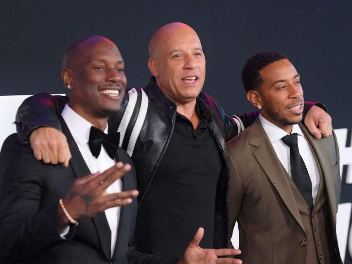 Tyrese Gibson, Vin Diesel and Ludacris at the New York premiere of 'The Fate of the Furious' in 2017: Dimitrios Kambouris/Getty Images