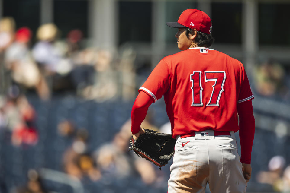 PEORIA, AZ - MARCH 21: Shohei Ohtani #17 of the Los Angeles Angels prepares to pitch against the San Diego Padres at the Peoria Sports Complex on March 21, 2021 in Peoria, Arizona. (Photo by Matt Thomas/San Diego Padres/Getty Images)
