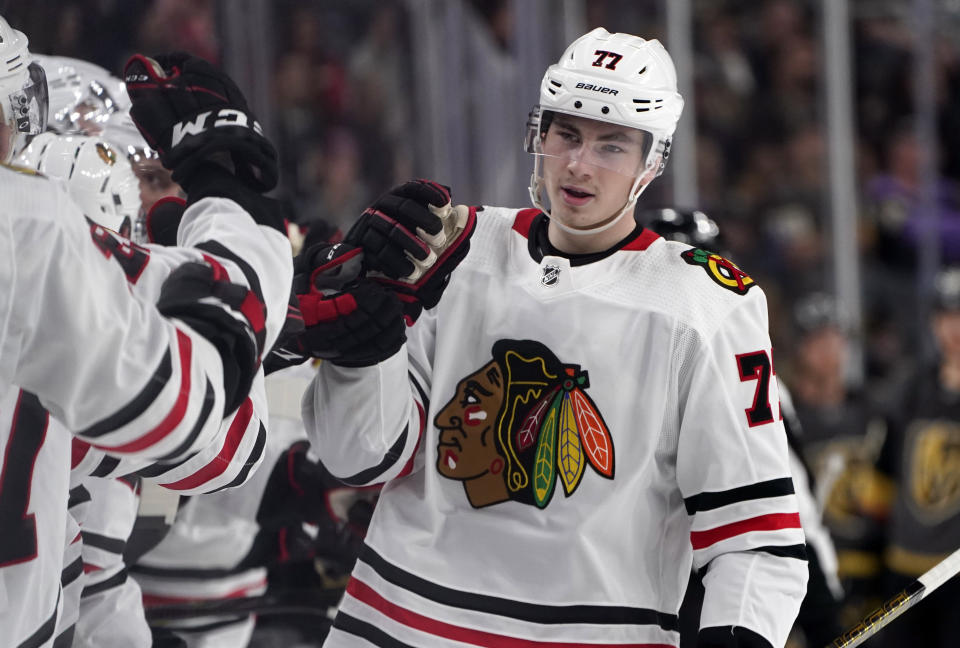 Kirby Dach #77 of the Chicago Blackhawks