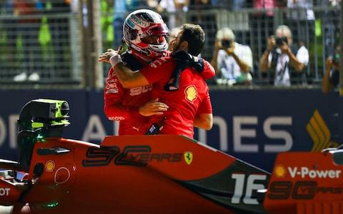 Pole position qualifier Charles Leclerc of Monaco and Ferrari celebrates in parc ferme during qualifying for the F1 Grand Prix of Singapore at Marina Bay Street Circuit on September 21, 2019 in Singapore - Credit: Getty Images
