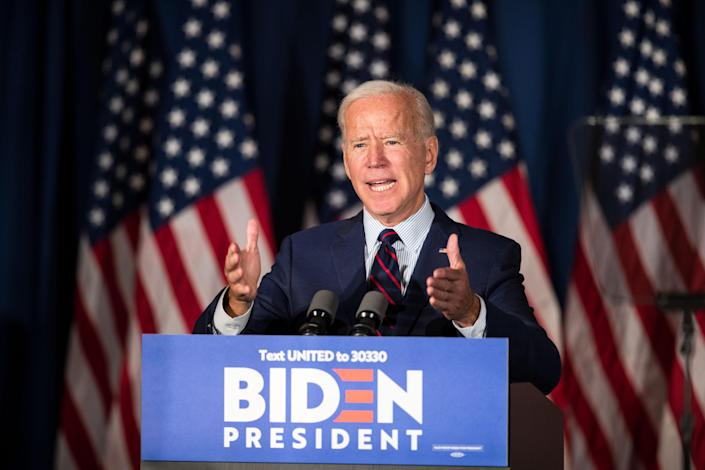 Biden at a campaign event in Rochester, N.H., on Wednesday. (Photo by Scott Eisen/Getty Images)