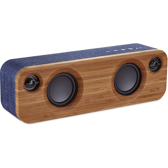 """<p><strong>House of Marley</strong></p><p>amazon.com</p><p><strong>$126.45</strong></p><p><a href=""""https://www.amazon.com/dp/B01DKGP5RI?tag=syn-yahoo-20&ascsubtag=%5Bartid%7C10051.g.36742284%5Bsrc%7Cyahoo-us"""" rel=""""nofollow noopener"""" target=""""_blank"""" data-ylk=""""slk:Shop Now"""" class=""""link rapid-noclick-resp"""">Shop Now</a></p><p>A sustainable Bluetooth speaker with 10 hours of playtime? No wonder everyone's crushing on it. </p>"""