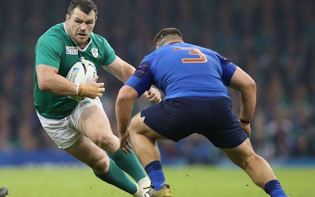 <span>Cian Healy taking the ball into contact</span> <span>Credit: REX FEATURES </span>