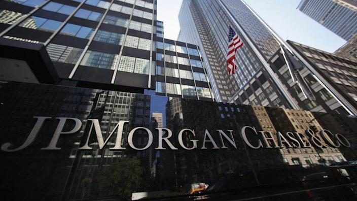 A sign outside the headquarters of JP Morgan Chase and Co in New York on September 19, 2013.