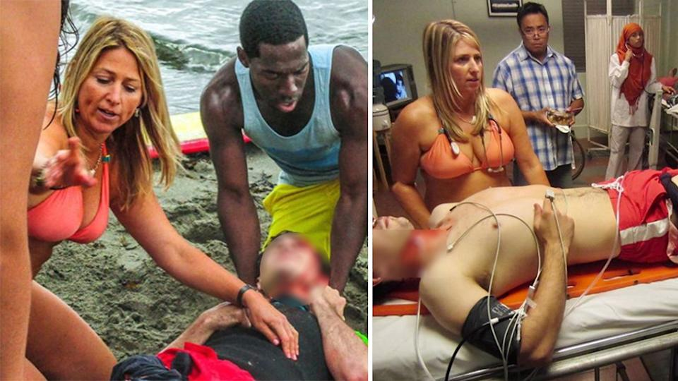 Dr. Candice Myhre saved man's life in bikini