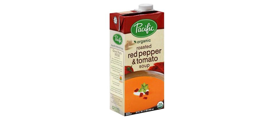 "<p>""As soon as fall hits, I find myself stocking up on this boxed <span>Pacific Organic Roasted Red Pepper &amp; Tomato Soup</span> ($4). I heat some up on the stove while I make <a href=""https://www.popsugar.com/food/Spicy-Tomato-Soup-Grilled-Cheese-Croutons-29240600"" class=""link rapid-noclick-resp"" rel=""nofollow noopener"" target=""_blank"" data-ylk=""slk:grilled cheese 'croutons'"">grilled cheese 'croutons'</a> in my sandwich press. I throw the grilled cheese squares into the soup and add some extra red pepper flakes. It's my favorite cold-weather meal."" - Madison Meltzer, associate social media strategist </p>"