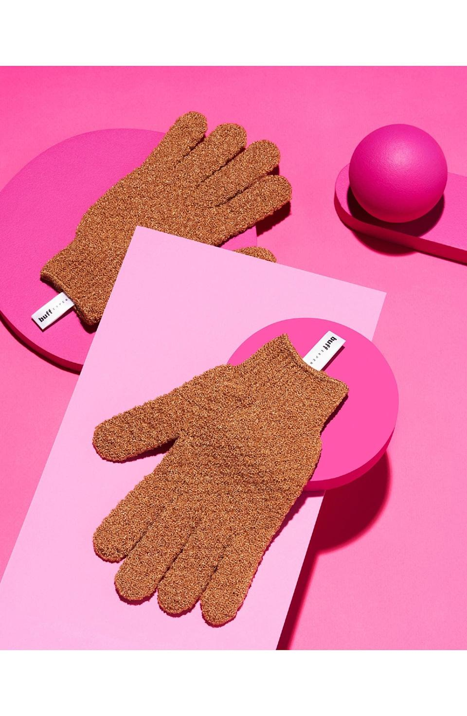 <p>The <span>Buff Experts Srsly Buffed Dry Brush In-Shower Exfoliating Gloves</span> ($10) are better than your average loofah. It helps you diminish ingrown hairs and exfoliate with ease in the shower.</p>