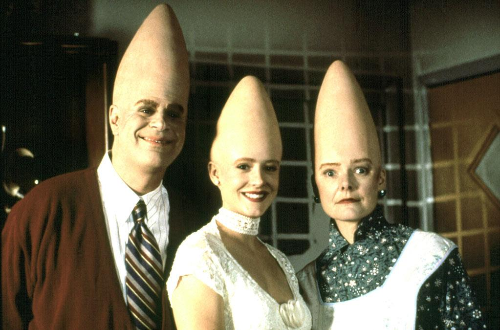 "<b>The Coneheads</b> (from the planet Remulak)<br>""<a href=""http://movies.yahoo.com/movie/coneheads/"">Coneheads</a>"" (1993)"
