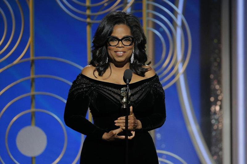Icon: Oprah Winfrey accepts the Cecil B. DeMille award at the 2018 Golden Globes (Getty Images)