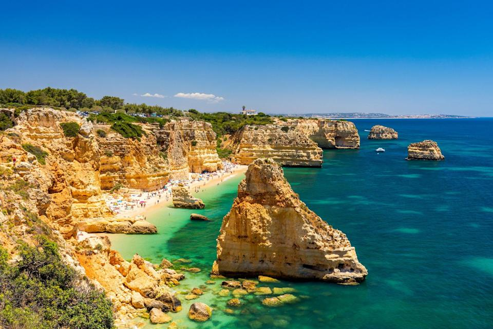 Praia da Marinha, Algarve, Portugal. The country has been one of the most receptive to UK tourists returning: iStock