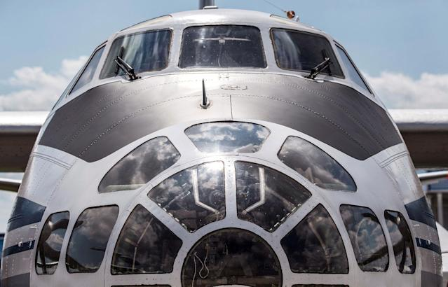 <p>A photo taken on July 18, 2017 shows the front of the Russian Antonov 30 B military plane exhibited at the annual air show MAKS 2017 in Zhukovsky, some 40 km outside Moscow, Russia. (Photo: Mladen Antonov/AFP/Getty Images) </p>