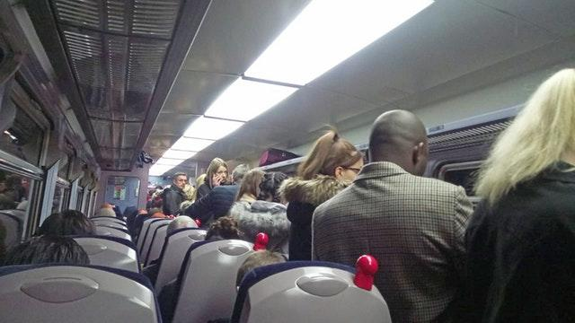 The aisle of the crowded 1632 train from Sheffield to Doncaster