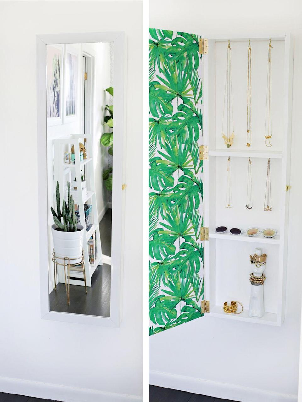 """<p>Think of this like a super huge medicine cabinet, but for accessories. Yes, you have to DIY it, but it's a great way to make use of wall space.</p><p><a href=""""http://www.abeautifulmess.com/2016/01/jewelry-storage-mirror-diy.html"""" rel=""""nofollow noopener"""" target=""""_blank"""" data-ylk=""""slk:Get the how-to at A Beautiful Mess »"""" class=""""link rapid-noclick-resp""""><em>Get the how-to at A Beautiful Mess »</em></a></p>"""
