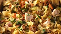 """<p>A new-dle way to finish up your Thanksgiving leftovers.</p><p>Get the recipe from <a href=""""https://www.delish.com/cooking/recipe-ideas/recipes/a56047/thanksgiving-noodles-recipe/"""" rel=""""nofollow noopener"""" target=""""_blank"""" data-ylk=""""slk:Delish"""" class=""""link rapid-noclick-resp"""">Delish</a>.</p>"""