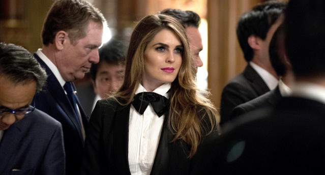 Hope Hicks stunned at a Japanese state dinner wearing a chic tux. (AP Photo/Andrew Harnik)