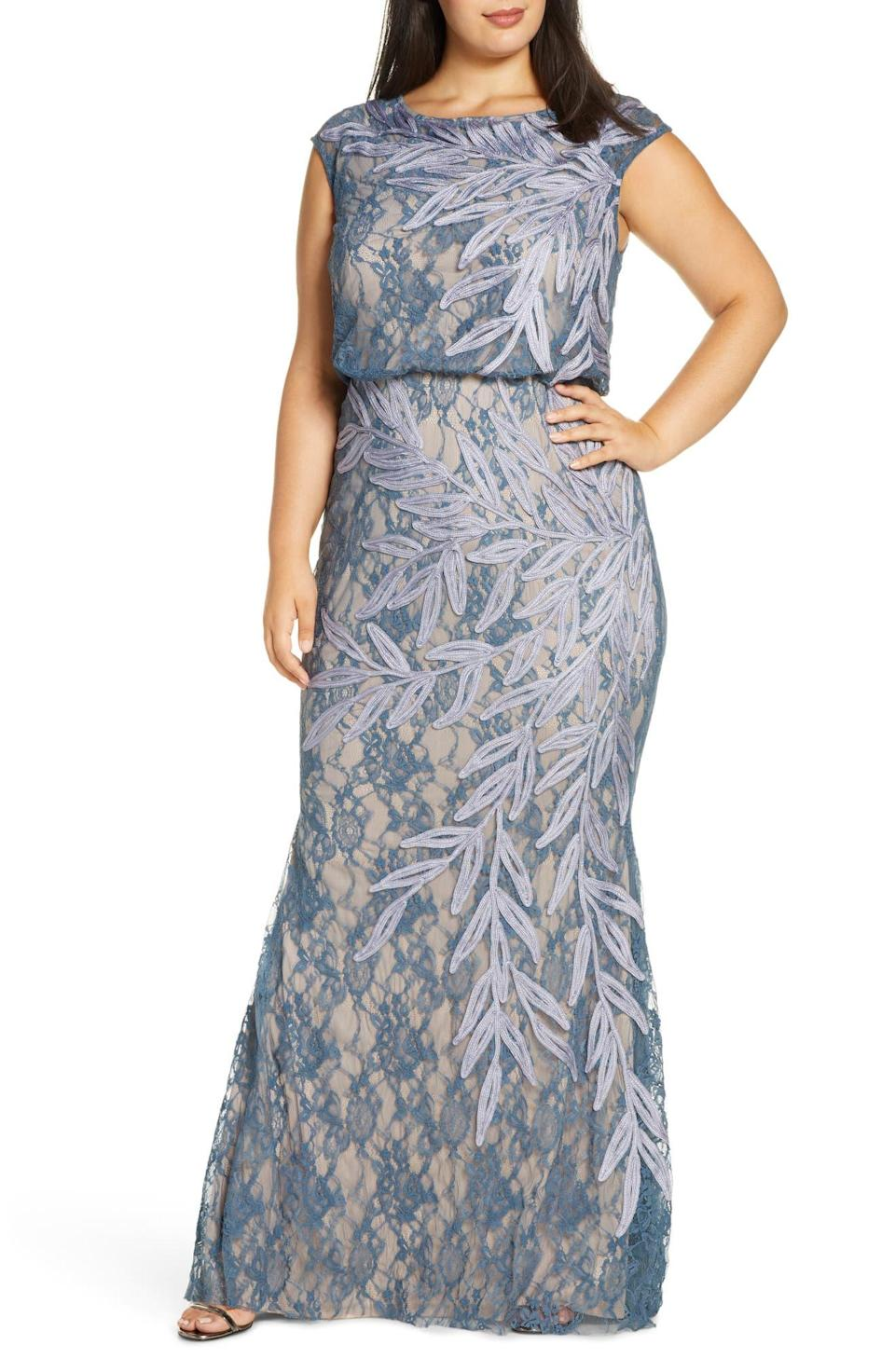 """<h2>JS Collections Soutache Lace Blouson Gown In Lilac Gray</h2><br>This painterly floor-length gown is layered with sophisticated hues, including a nude slip, a contrasting blue lace overlay, and a periwinkle soutache ribbon that unfurls organically across the silhouette.<br><br><em>Shop JS Collections at <strong><a href=""""https://www.nordstrom.com/brands/js-collections--1268"""" rel=""""nofollow noopener"""" target=""""_blank"""" data-ylk=""""slk:Nordstrom"""" class=""""link rapid-noclick-resp"""">Nordstrom</a></strong></em><br><br><strong>JS Collections</strong> Soutache Lace Blouson Gown, $, available at <a href=""""https://go.skimresources.com/?id=30283X879131&url=https%3A%2F%2Fwww.nordstrom.com%2Fs%2Fjs-collections-soutache-lace-blouson-gown-plus-size%2F5530536"""" rel=""""nofollow noopener"""" target=""""_blank"""" data-ylk=""""slk:Nordstrom"""" class=""""link rapid-noclick-resp"""">Nordstrom</a>"""