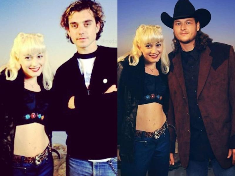 """Gwen Stefani took an old photo of herself with ex-husband Gavin Rossdale, left, and gave it a makeover — by putting current """"boo"""" Blake Shelton in Rossdale's place. (Photos: Gwen Stefani via Instagram)"""