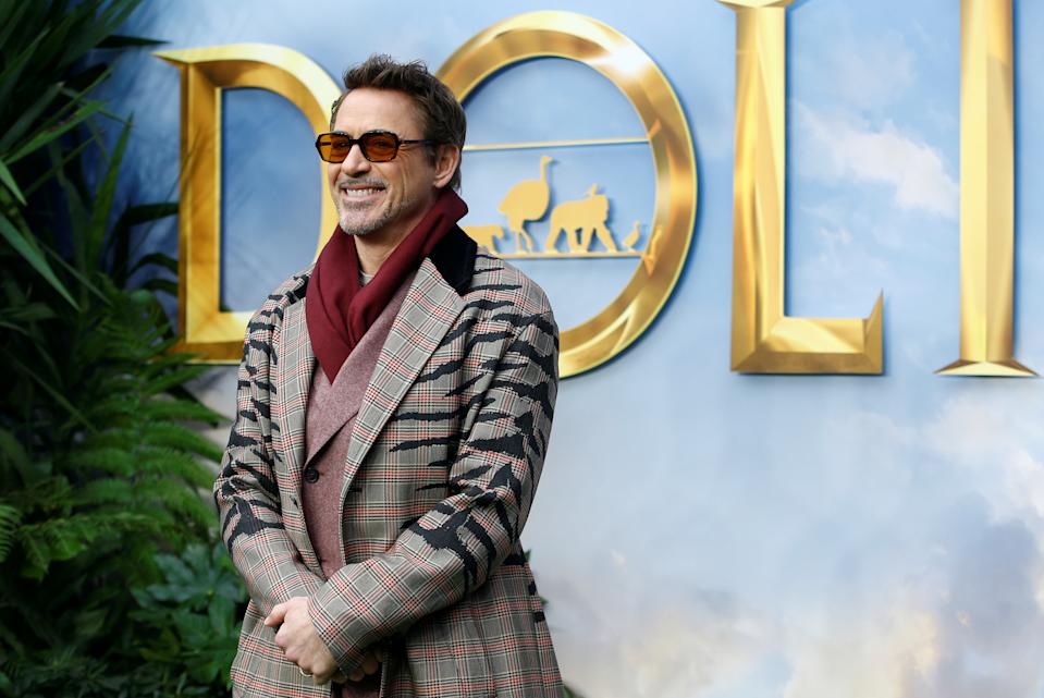 """Cast member Robert Downey Jr. poses at a special screening of """"Dolittle"""" in London, Britain, January 25, 2020. REUTERS/Henry Nicholls"""