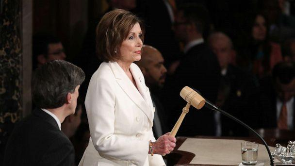 PHOTO: House Speaker Rep. Nancy Pelosi holds the gavel ahead of the State of the Union address in the chamber of the U.S. House of Representatives on Feb. 04, 2020, in Washington, DC. (Drew Angerer/Getty Images)