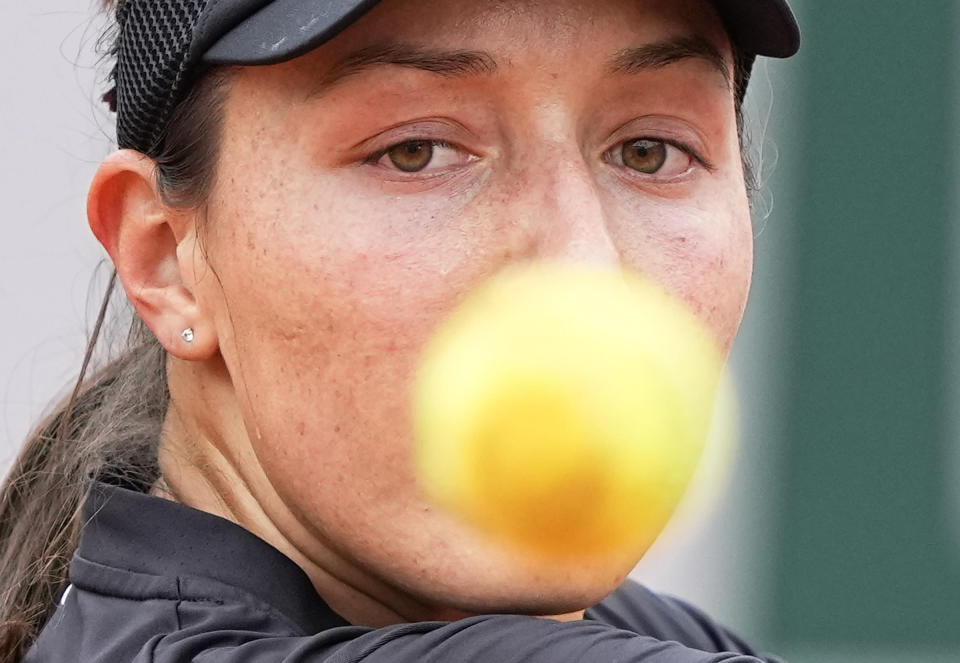 United States's Jessica Pegula eyes the ball as he plays a return to United States's Sofia Kenin during their third round match on day 7, of the French Open tennis tournament at Roland Garros in Paris, France, Saturday, June 5, 2021. (AP Photo/Michel Euler)