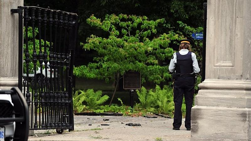 Canadian police stand guard outside Rideau Hall in Ottawa, Canada on 2 July, 2020