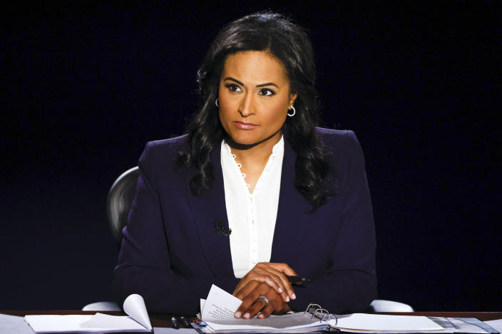 """FILE - Moderator Kristen Welker of NBC News appears during the second and final presidential debate between Republican candidate President Donald Trump and Democratic presidential candidate former Vice President Joe Biden in Nashville, Tenn., on Oct. 22, 2020. Welker is revealing her struggles with infertility. She and her husband, John Hughes, are expecting the birth of a daughter this June through a surrogate. NBC said Welker would be doing stories about infertility on the weekend edition of """"Today."""" (AP Photo/Julio Cortez, File)"""