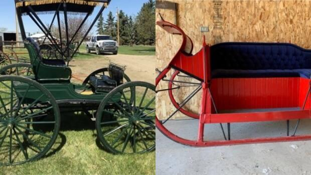 Sleighs and carriages will be auctioned off as part of the estate sale of a collector from Penhold, Alta.  (Prairie Auctions - image credit)