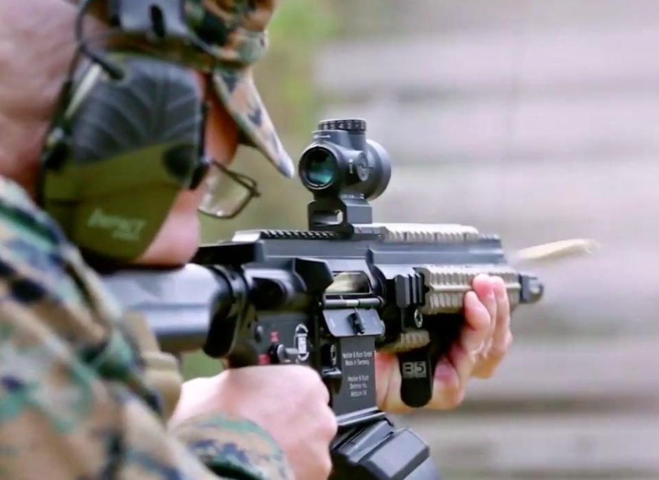 US Marine Corps Chief Warrant Officer Christian Wade M27 Infantry Automatic Rifle