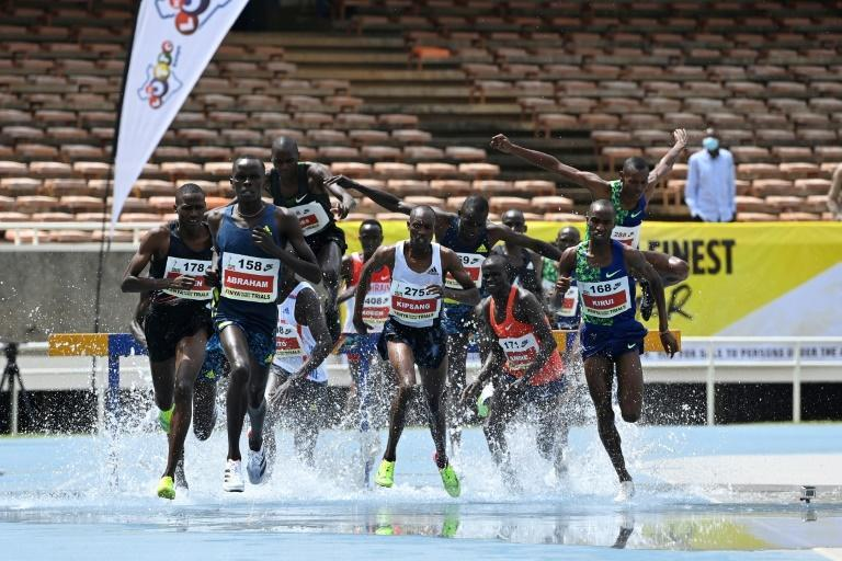 Competitors in the 3000m steeplechase at the Kenyan Olympic trials