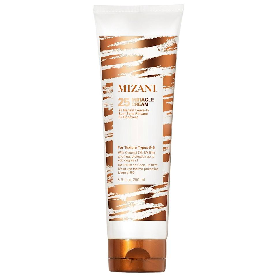 """<p>This leave-in <a href=""""https://www.popsugar.com/buy/Mizani-25-Miracle-Cream-565399?p_name=Mizani%2025%20Miracle%20Cream&retailer=sephora.com&pid=565399&price=22&evar1=bella%3Aus&evar9=47540523&evar98=https%3A%2F%2Fwww.popsugar.com%2Fphoto-gallery%2F47540523%2Fimage%2F47540535%2FMizani-25-Miracle-Cream&list1=hair%2Csephora%2Cbeauty%20shopping&prop13=api&pdata=1"""" class=""""link rapid-noclick-resp"""" rel=""""nofollow noopener"""" target=""""_blank"""" data-ylk=""""slk:Mizani 25 Miracle Cream"""">Mizani 25 Miracle Cream</a> ($22) adds hydration with coconut oil, whether hair is air-dried or blow-dried (and there's heat protection inside if choosing the latter). It's also <a href=""""https://www.popsugar.com/beauty/summer-beauty-launches-sephora-47482836"""" class=""""link rapid-noclick-resp"""" rel=""""nofollow noopener"""" target=""""_blank"""" data-ylk=""""slk:great for summer"""">great for summer</a> as there's UV protection in there, too.</p>"""