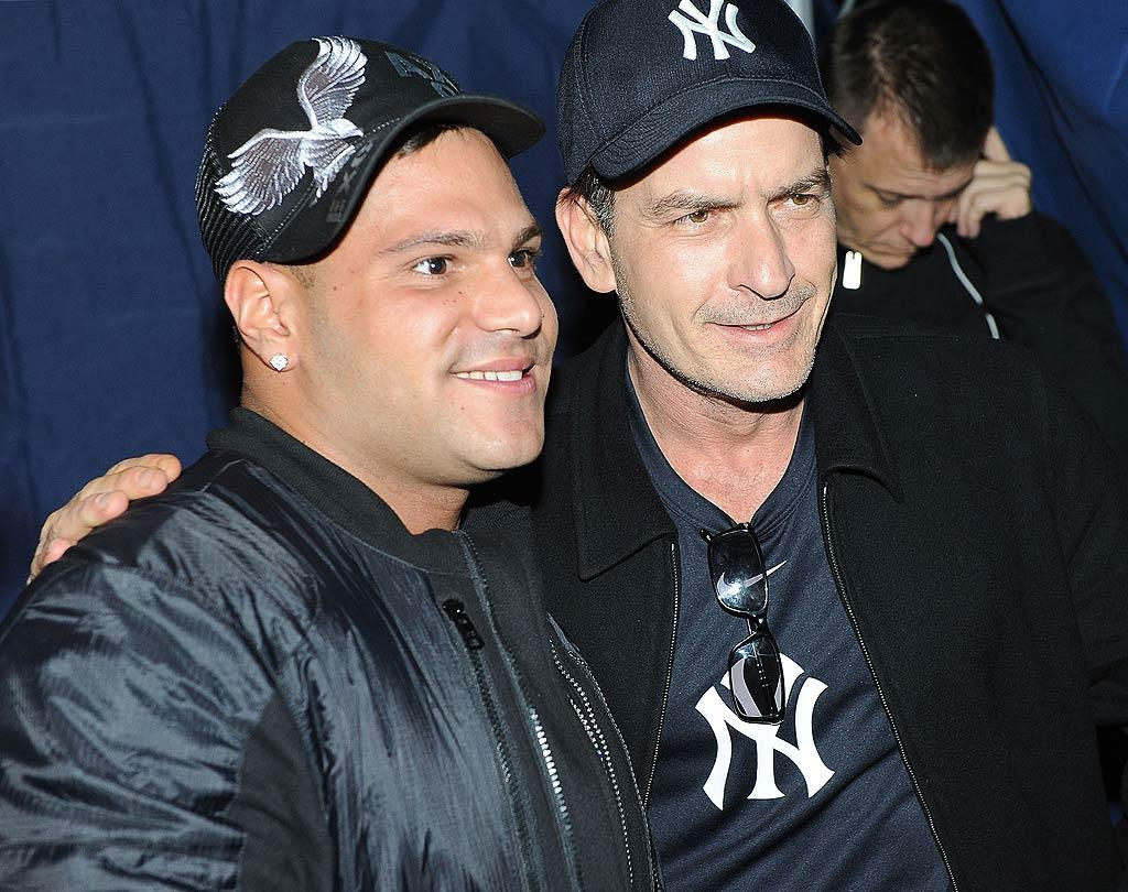 """At Dragonfly nightclub in New Jersey, Ronnie Magro helped Charlie Sheen celebrate the first night of his Radio City Music Hall show, """"My Violent Torpedo Of Truth/Defeat Is Not An Option."""" The """"Jersey Shore"""" guido scored an autographed """"winning"""" baseball for his trouble. Though Sheen told reporters this week that he is in talks to return to """"Two and a Half Men,"""" CBS has declined to comment on the situation. Dave Kotinsky/<a href=""""http://www.wireimage.com"""" target=""""new"""">WireImage.com</a> - April 8, 2011"""