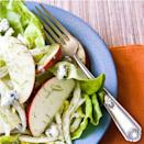 <p>Apples and blue cheese are a heavenly match in this fennel and apple salad recipe dressed with a tangy cider-vinegar dressing.</p>