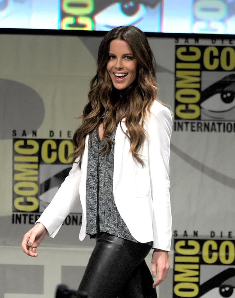 "SAN DIEGO, CA - JULY 13:  Actress Kate Beckinsale speaks during Sony's ""Total Recall"" panel during Comic-Con International 2012 at San Diego Convention Center on July 13, 2012 in San Diego, California.  (Photo by Kevin Winter/Getty Images)"